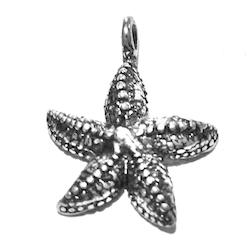 Sterling Silver Charm Starfish 2 cm 1.5 gram