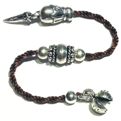Sterling silver top attachment for tasbih with textile cord 12 cm
