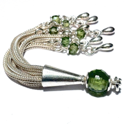 Sterling Silver Tassel with Green Cubic Zirconia 85 mm