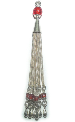 Sterling Silver Tassel with Red Cubic Zirconia 85 mm