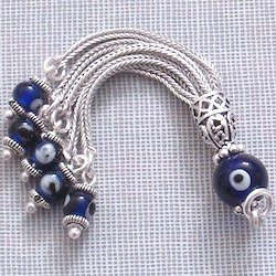 Sterling Silver Cobalt Glass Evil Eye Tassel 65 mm