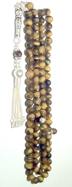 Islamic Prayer Beads 99 Tasbih Matte Tiger Eye w/silver