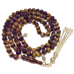 Islamic Prayer Beads 99 Tasbih Tiger Eye 6.5 mm w/silver