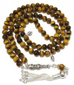 Islamic Prayer Beads 99 Tasbih Tigers Eye 6 mm w/ silver