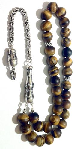 Islamic Prayer Beads Tasbih Matte Tiger Eye 10 mm w/silver