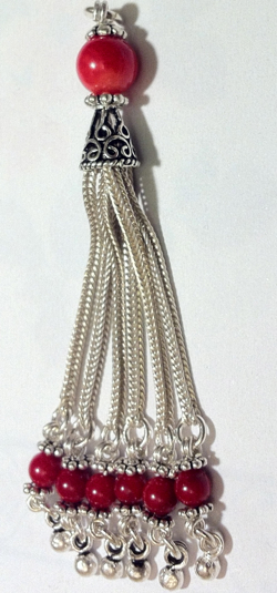 Sterling Silver Tassel with Coral Beads 75 mm