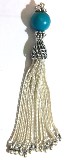 Sterling Silver Tassel with Turquoise Bead 85 mm