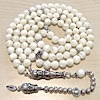 Islamic Prayer Beads 99 Namaz Tasbih Mother of Pearl w/ silver 8 mm ID # 6751
