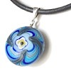 Turkish Murano Glass Evil Eye Silver and Leather Choker Necklace Blue ID # 6635