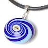Turkish Murano Glass Evil Eye Silver and Leather Choker Necklace Blue Swirl ID # 6636