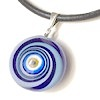Turkish Murano Glass Evil Eye Silver and Leather Choker Necklace Blue ID # 6639