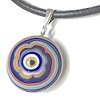 Turkish Murano Glass Evil Eye Silver and Leather Choker Necklace Orange ID # 6641