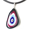 Turkish Murano Glass Evil Eye Silver and Leather Choker Necklace ID # 6642