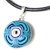 Turkish Murano Glass Evil Eye Silver and Leather Choker Necklace Blue ID # 6637