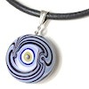 Turkish Murano Glass Evil Eye Silver and Leather Choker Necklace Blue ID # 6638
