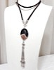 Agate necklace with sterling silver tassel 33 inch ID # 6630