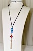 Turkish evil eye necklace with sterling silver tassel 85 cm ID # 6645