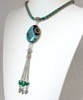 Agate choker necklace with sterling silver tassel 18 inch ID # 6631