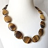 Tiger Eye Necklace with Sterling Silver Gilted Beads 49 cm ID # 6625