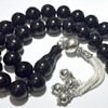 Turkish Black Amber Oltu Islamic Prayer Beads Large Tasbih w/silver ID # 6200