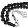 Turkish Black Amber Oltu Islamic Prayer Beads Tasbih 10 mm w/silver ID # 6733