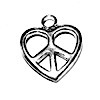 Lot of 2 Sterling Silver Charm Pendant Heart and Peace 14 mm 1.6 gram ID # 6721
