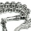 Full Sterling Silver Islamic Prayer Beads Tasbih 8 mm 51 gram ID # 6325