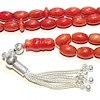 Red coral Islamic prayer beads 9 mm tasbih w/silver ID # 6678