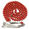 Islamic Prayer Beads 99 Namaz Tasbih Red Coral w/ silver 7 mm ID # 6752