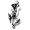 Sterling Silver Charm Pendant Rose 25 mm 2.2 gram ID # 6708