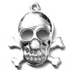 Sterling Silver Charm Pendant Skull and Bones 1 inch 2.80 gram ID # 6874