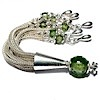 Sterling Silver Tassel with Green Cubic Zirconia 85 mm ID # 6542