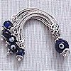 Turkish Sterling Silver Cobalt Glass Evil Eye Tassel 65 mm ID # 5752