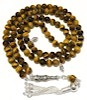Islamic Prayer Beads 99 Namaz Tasbih Glossy Tigers Eye 6.5 mm w/ silver ID # 6749