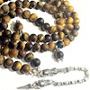 Islamic Prayer Beads 99 Tasbih Matte Tiger Eye w/antique silver chain ID # 6558