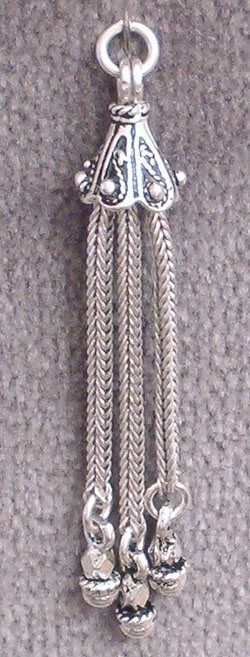 Turkish Sterling Silver Tiny Tassel 45 mm 3 gram ID # 4686 - Click Image to Close