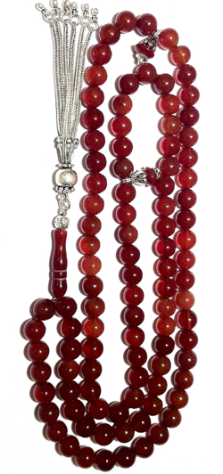 Islamic Prayer Beads 99 Tasbih Agate 8 mm w/ silver tassel ID # 6286 - Click Image to Close