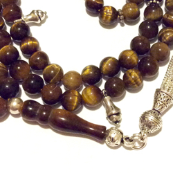 Islamic Prayer Beads 99 Tasbih Tiger Eye 6.5 mm w/silver ID # 6795 - Click Image to Close